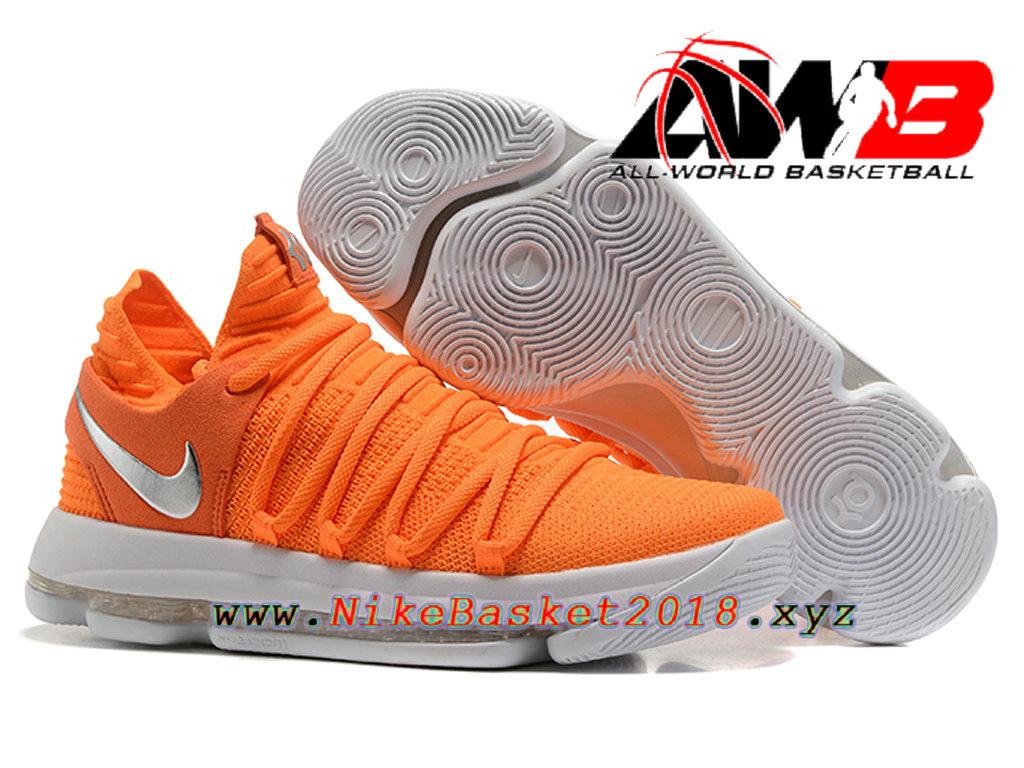 ... Chaussure de BasketBall Pas Cher Pour Homme Nike Zoom KD 10 EP Orange  Blanc ...