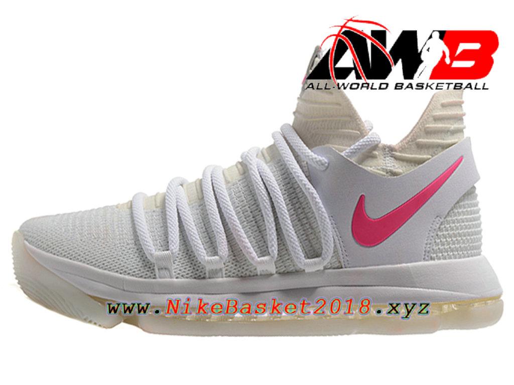 los angeles 3a428 a8e6c Chaussure de BasketBall Pas Cher Pour Homme Nike Zoom KD 10 EP Rose Blanc  ...