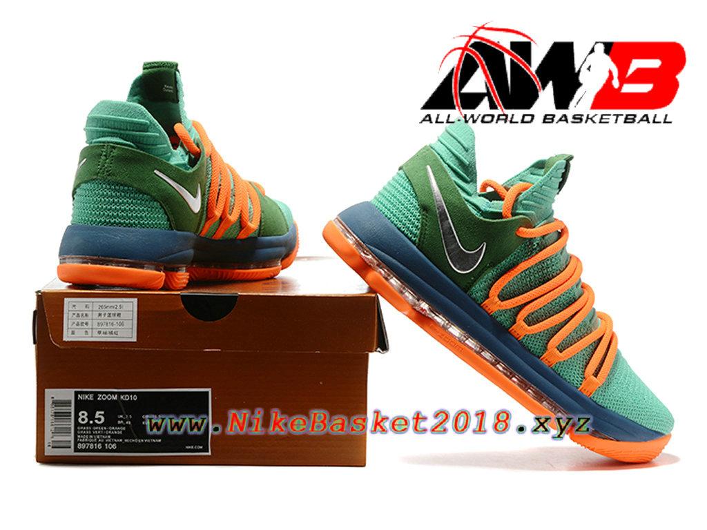 fbcc68b5059f3 ... czech chaussure de basketball pas cher pour homme nike zoom kd 10 ep  vert orange 48051 ...