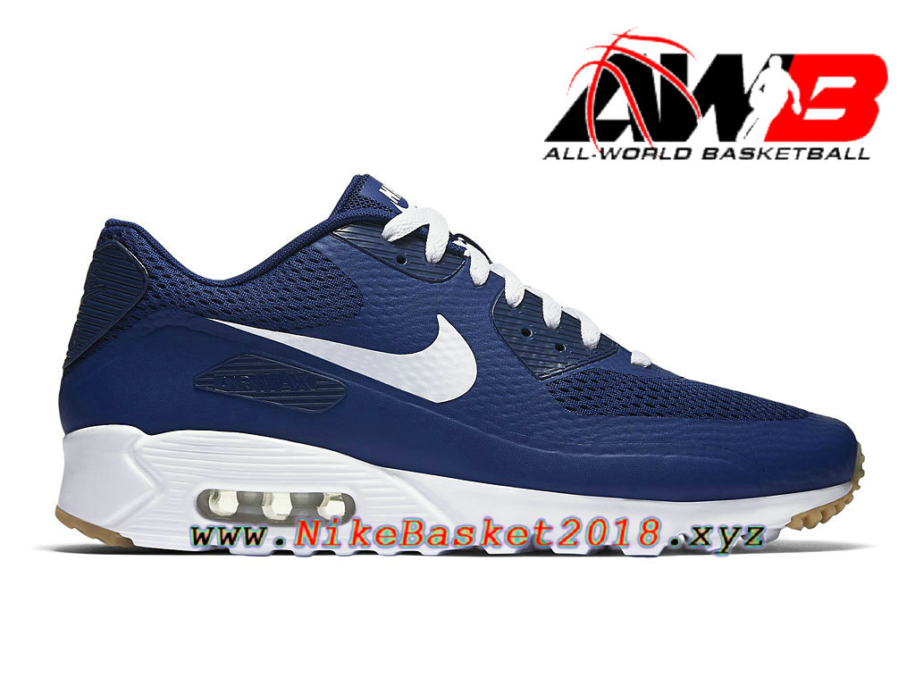 Chaussures de BasketBall Pas Cher Pour Homme Nike Air Max 90 Ultra Essential Bleu Blanc 819474_402 ...
