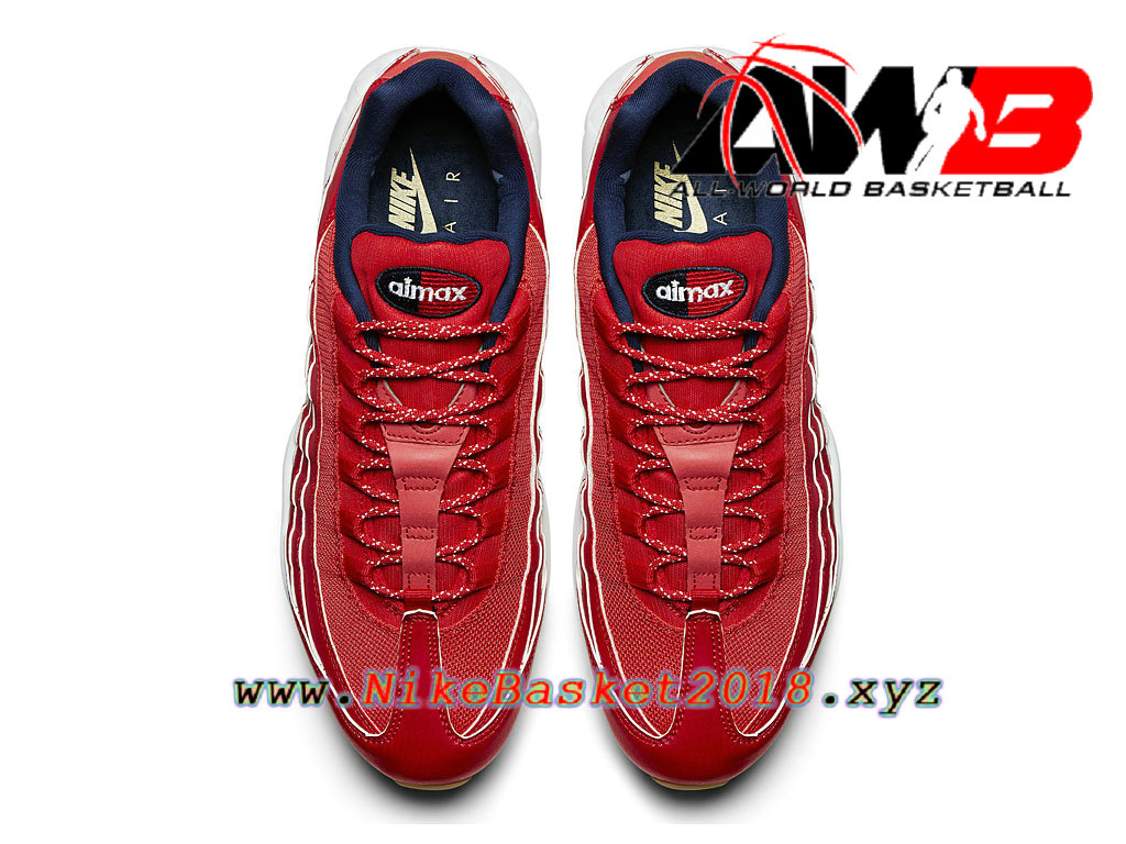 ... Chaussures de BasketBall Pas Cher Pour Homme Nike Air Max 95 Premium USA Rouge Blanc 538416_614 ...