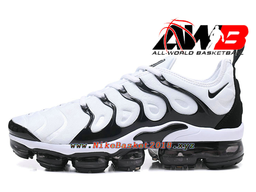chaussures de basketball pas cher pour homme nike air vapormax plus 2018 noir blanc 1803080909. Black Bedroom Furniture Sets. Home Design Ideas