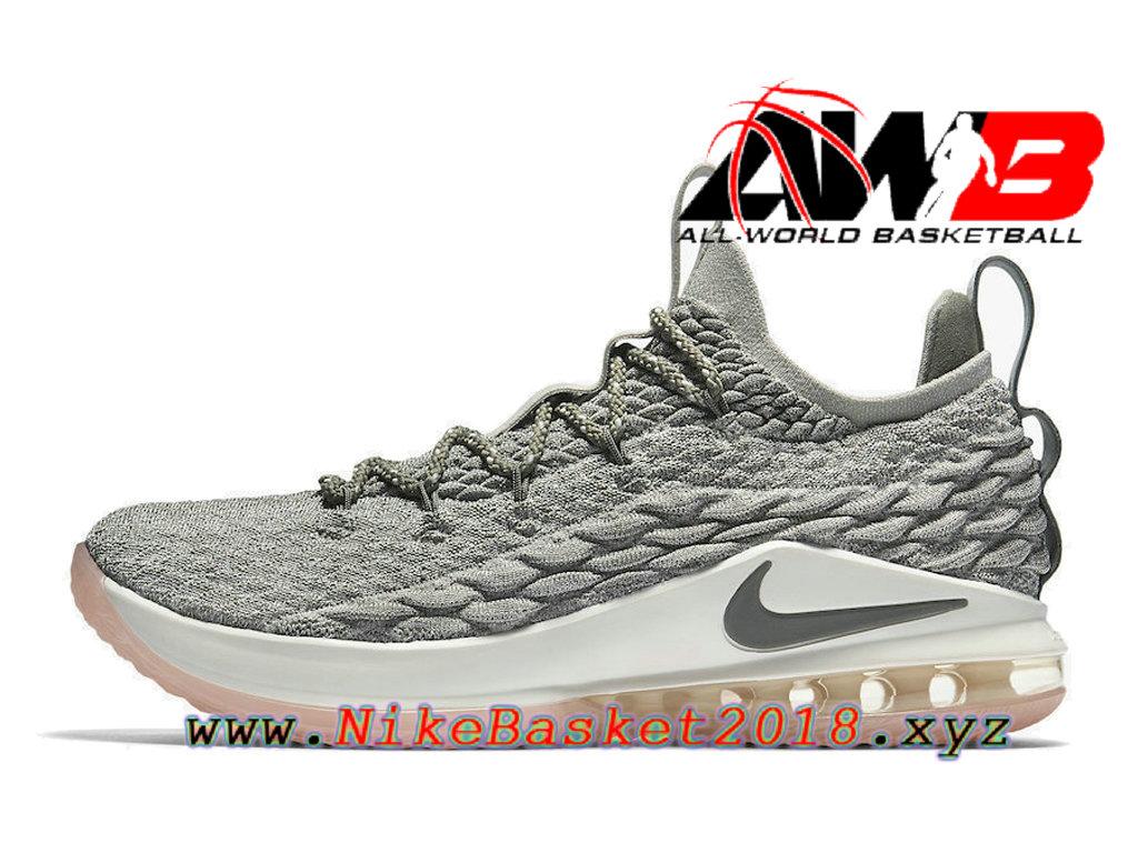 a38ae3b8e76 Men´s Nike BasketBall Pas Cher Shoes Nike LeBron 15 Low Gery White AO1755-