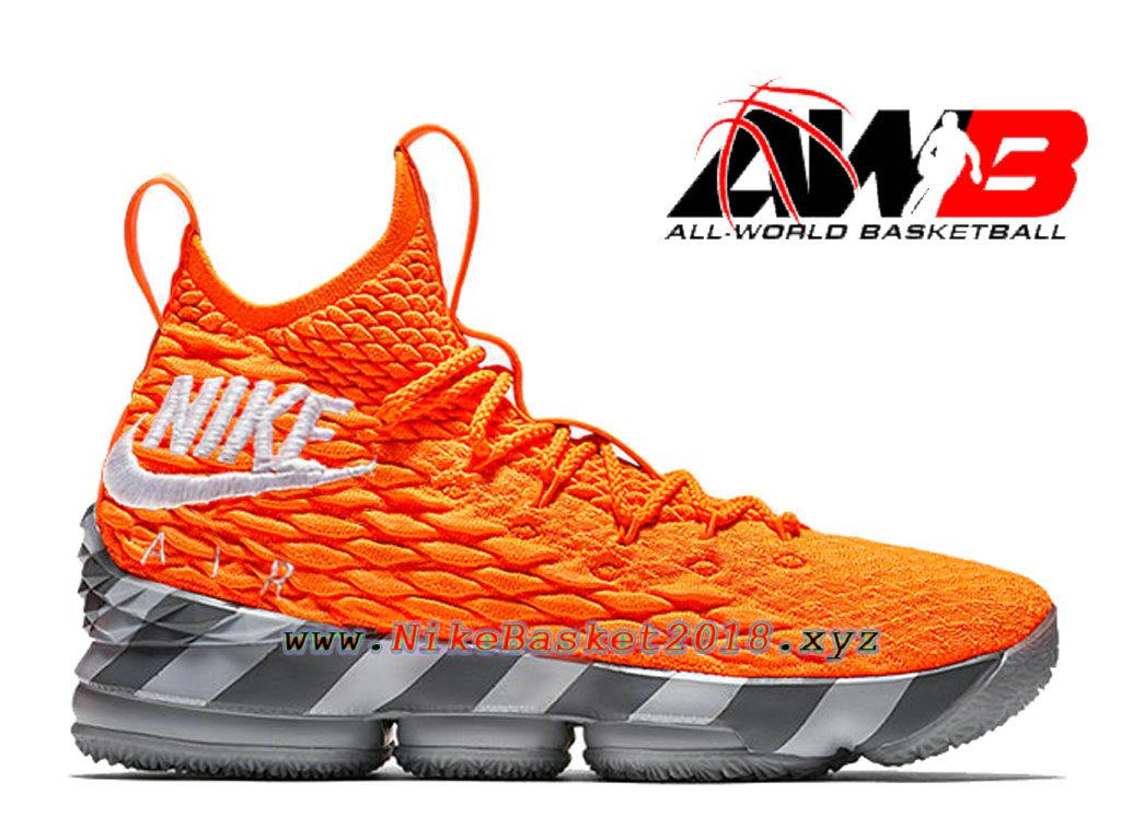18f3ab4d3ad Men´s Officiel 2018 Pas Cher Shoes Nike LeBron 15 Orange Box Orange Gery  AR5125